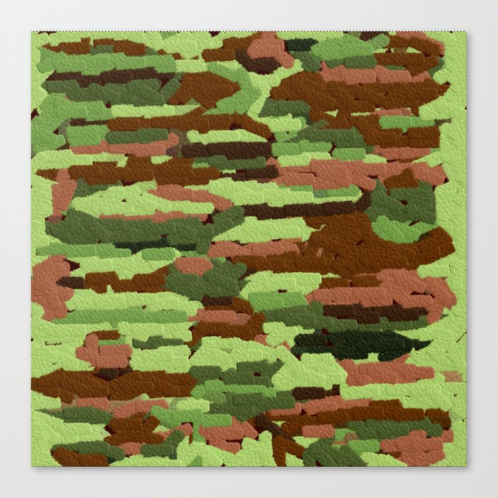 Trendy Green and Brown Camouflage Spheres Canvas Print