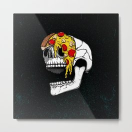 Pizza Face - colored Metal Print