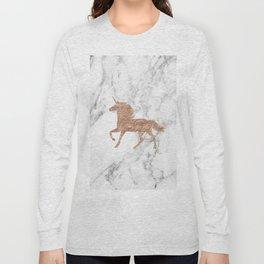 Rose gold unicorn on marble Long Sleeve T-shirt