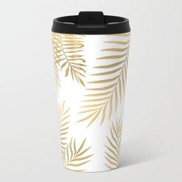 Gold palm leaves Metal Travel Mug