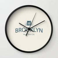 brooklyn Wall Clocks featuring Brooklyn by JAY'S PICTURES
