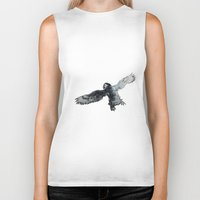 puffin Biker Tanks featuring Soar the puffin by Cary Polkovitz