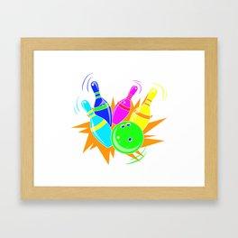 Neon Vintage Retro Strike Bowling. - Gift Framed Art Print