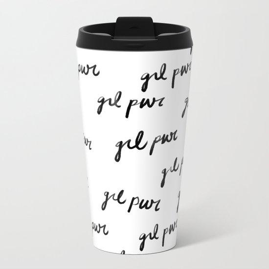GRL PWR Pattern (Black + White) Metal Travel Mug