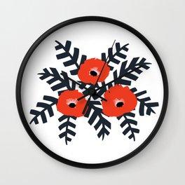Summer Poppy Floral Print Wall Clock