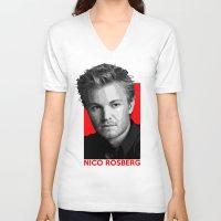formula 1 V-neck T-shirts featuring Formula One - Nico Rosberg by Vehicle