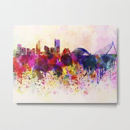 Valencia skyline in watercolor background Metal Print