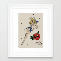 laura palmer Framed Art Prints featuring Laura Palmer Sailor Pin-up by Emma Munger