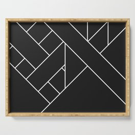 Charcoal Black and White Geometric Abstract Paths and Lines Serving Tray