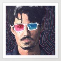 johnny depp Art Prints featuring Johnny Depp by Pazu Cheng