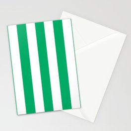 GO green - solid color - white vertical lines pattern Stationery Cards