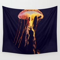 jelly fish Wall Tapestries featuring Jelly Fish Blue by Luigi Riccardi