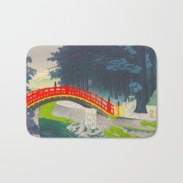 Tokuriki Tomikichiro Nikko Red Bridge Over Rapid River Japanese Woodblock Print Bath Mat