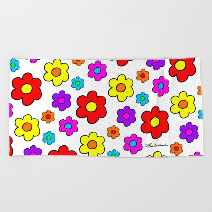 Pop Flowers Beach Towel