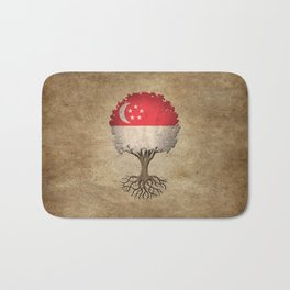 Vintage Tree of Life with Flag of Singapore Bath Mat