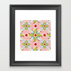 Pink Paisley Flowers Framed Art Print