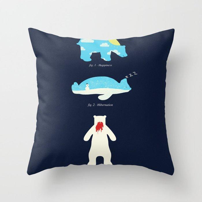 The 3 H's of Bear Life Throw Pillow