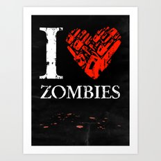 I Love Zombies (I love New York parody) Chainsaw 2nd Version Art Print