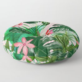 Tropical palm leaf with red flowers Floor Pillow