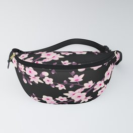 Cherry Blossoms Pink Black Fanny Pack