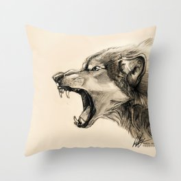 Wolf Snarl Throw Pillow