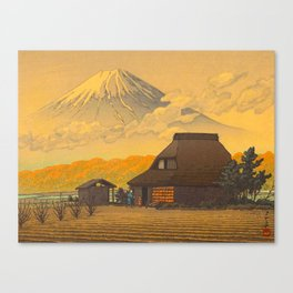 Vintage Japanese Woodblock Print Sepia Japanese Farm Mount Fuji Farmer Canvas Print