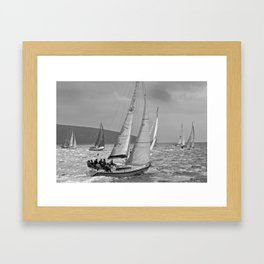 sailrace black and white Framed Art Print