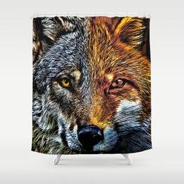Fox Wolf Face Shower Curtain