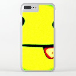 Silly Face Green and Yellow Clear iPhone Case