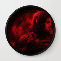 bucky barnes Wall Clocks featuring The Winter Soldier (Bucky Barnes) Hydra Print by thecannibalfactory