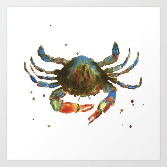 Crab art, coastal art, watercolor crab, crab pillow, beach house pillow Art Print