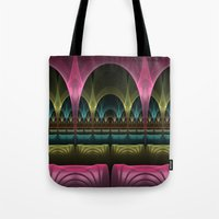 theatre Tote Bags featuring Theatre of Fantasy Fractal by gabiw Art