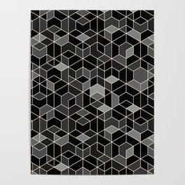 Black geometry / hexagon pattern Poster