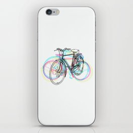 Artistic modern pink teal abstract bicycles art iPhone Skin