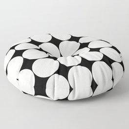 Circular Minimalism - Black & White Floor Pillow