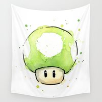 mushroom Wall Tapestries featuring 1UP Mushroom Painting by Olechka