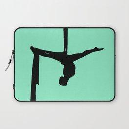 Aerial Silk Silhouette on Mint Laptop Sleeve