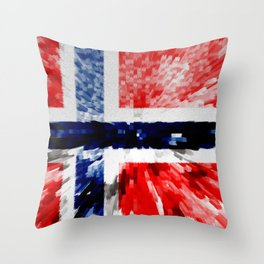 Extruded Flag of Norway Throw Pillow