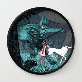 Woman Wolf wandering | magical forest/  Wall Clock