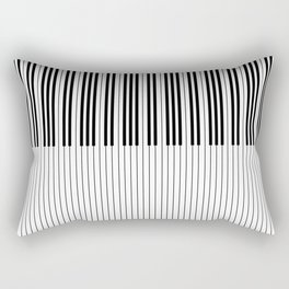 The Piano Black and White Keyboard Stripes with Vertical Stripes Rectangular Pillow