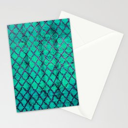 -A4- Stylish Green Traditional Moroccan Carpet Texture. Stationery Cards