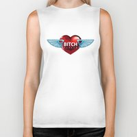 bitch Biker Tanks featuring BITCH by FabLife