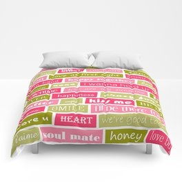 Pink and Green Typography Love Letters Print Comforters