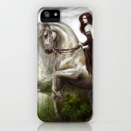 Morning welcome - Royal redead girl riding a white horse iPhone Case