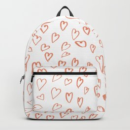 Romantic hand drawn watercolor terracota valentines hearts Backpack