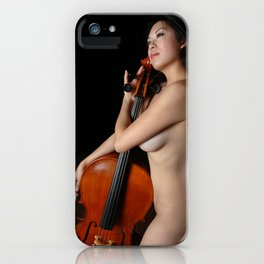 0205-JC Nude Cellist with Her Cello and Bow Naked Young Woman Musician Art Sexy Erotic Sweet Sensual iPhone Case