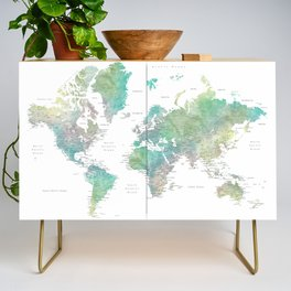 Watercolor world map in muted green and brown Credenza