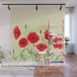 Watercolor poppies Wall Mural