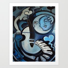 Black & Bleu Art Print