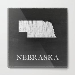 Nebraska State Map Chalk Drawing Metal Print